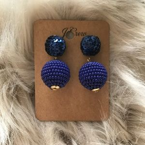 J. Crew Blue Ball Earrings